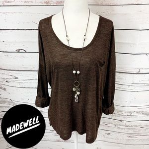 Madewell Brown Long Sleeve T-Shirt with Pocket